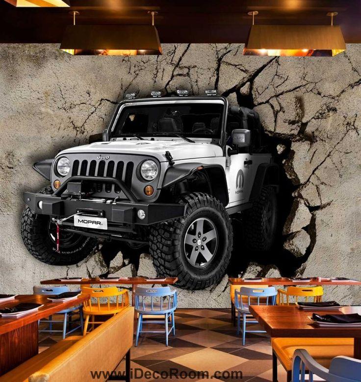 Grey Jeep Braking Cement Wall Art Wall Murals Wallpaper Decals Prints Decor IDCWP-JB-000872