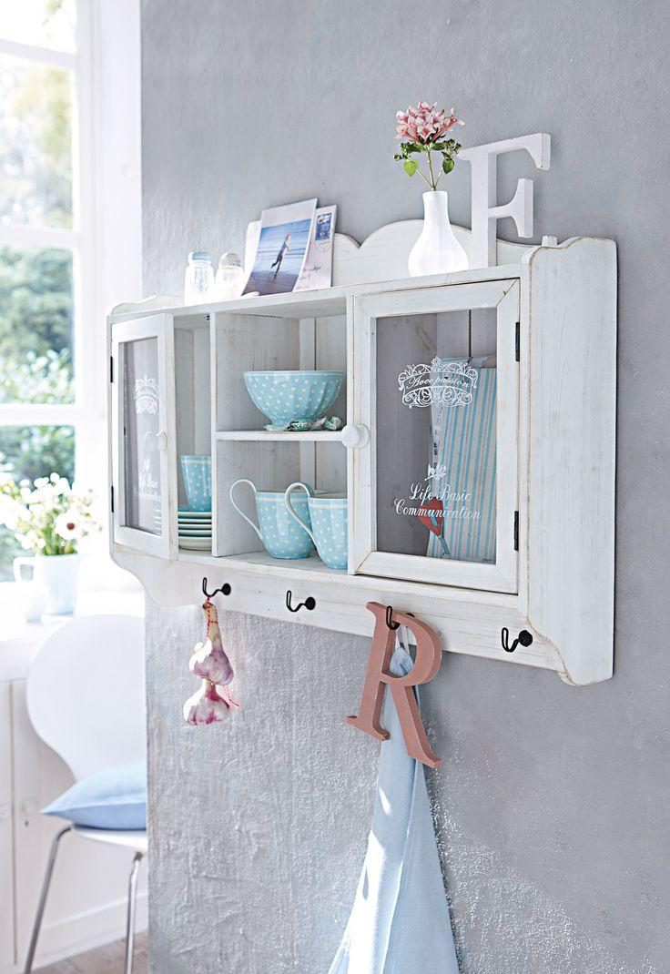 MiaVILLA_Das Schmuckstückchen Für Das Esszimmer: Antikweiß Gewischter  Wandschrank Mit Zwei Weiß Bedruckten Glastüren. Maße