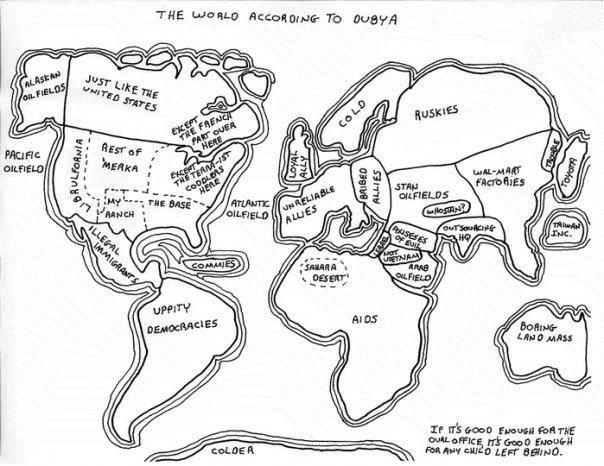 The World According To Dubya Funny Chartsmental Mapmaps