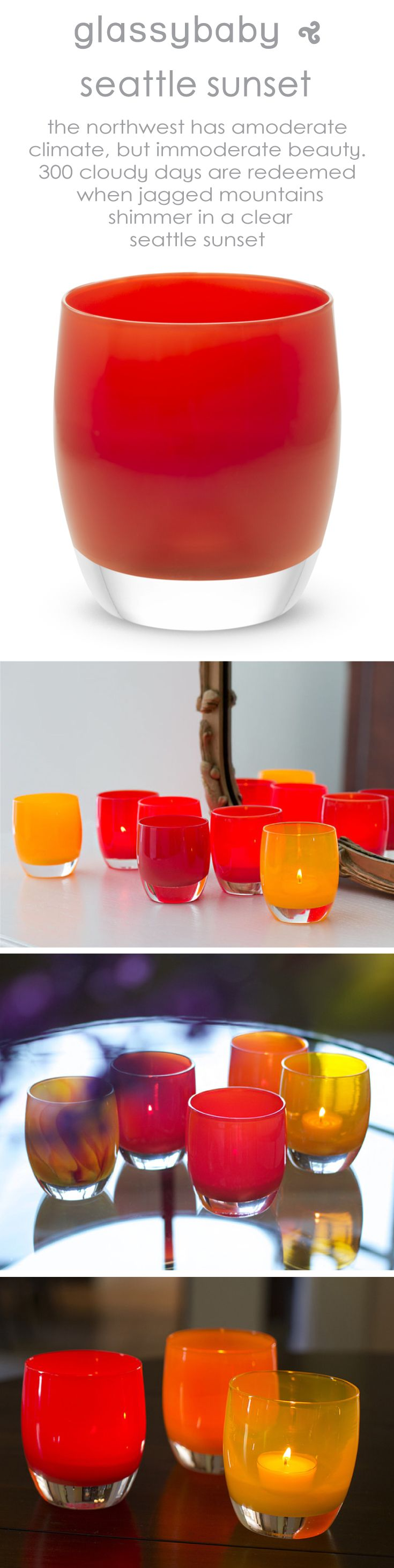 the northwest has a moderate climate, but immoderate beauty. 300 cloudy days are redeemed when jagged mountains shimmer in a clear seattle sunset.  10% of the sale of each 'seattle sunset' will be donated to the glassybaby white light fund in further support of seattle arts & lectures and their writers in the schools program.