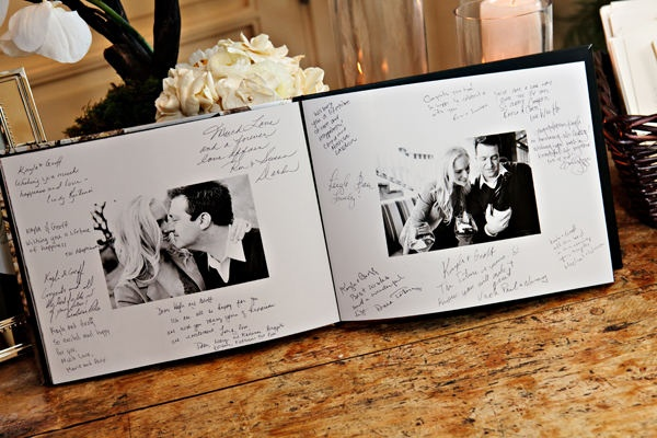 Get engagement photos printed in a book (snapfish or mixbook are great options) and double it as a guest book!