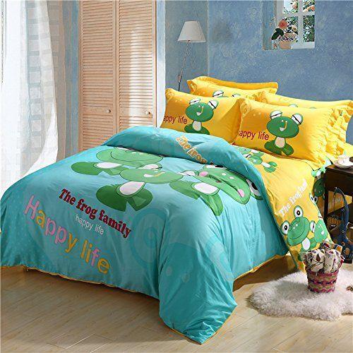 LELVA Frog Family Blue Bedding Set Kids Bedding Children's Duvet Cover Set Cartoon Bedding Animal Bedding (Full) //Price: $64.53 & FREE Shipping //     #hashtag3