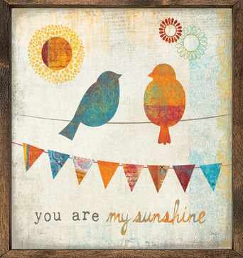 'You Are My Sunshine' Art Print - contemporary - Prints And Posters - Forest Creations  I like this color palette