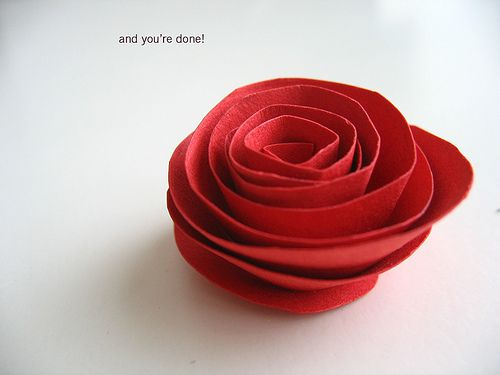 DIY:  How to cut and fold a paper rose.