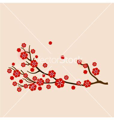 Red sakura vector
