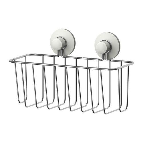 IMMELN Cesto p/duche IKEA Com ventosas que aderem a superfícies lisas, tais como vidro, espelhos e azulejos.