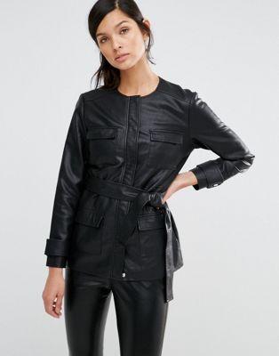 Куртка в стиле милитари из искусственной кожи Neon Rose
