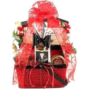Valentine's Day Gift Basket is dressed for guys and large enough for a couple to share. It features an Amaretto Liqueur Cake, and many other chocolate delights. Find it here: http://www.arttowngifts.com/Valentine-s-Day-Basket-for-Him-p/gbvvadafohi.htm