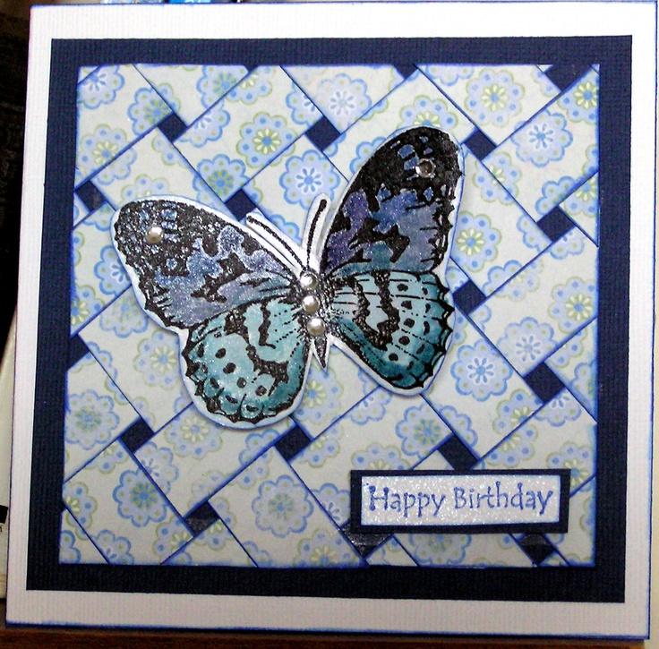My Basket weave butterfly card