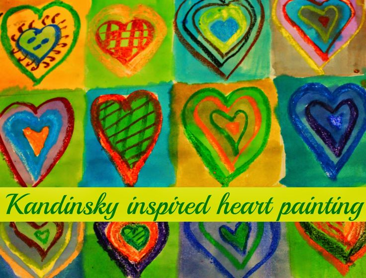kandinsky inspired heart painting! Will be beautiful gift for Valentine's day!