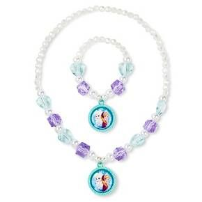 I liked using square beads in this necklace bracelet set—IDK something different Adorn your favorite Frozen lover with this Girls' Disney Frozen Necklace and Bracelet Set. This 2-piece set includes a matching necklace and bracelet with the most dazzling beads and faux pearls your little girl has ever seen. This jewelry set is complete with matching Anna and Elsa dangling charms on both necklace and bracelet.