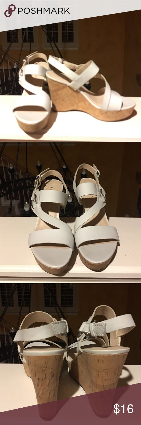 """Franco Sarto white cork wedges 4"""" cork wedge. White straps with silver hardware. Worn once. Excellent condition. Franco Sarto Shoes Wedges"""