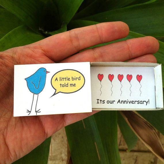 Little Bird Aniversary Card Matchbox Cute Love by LoveMessagesXO