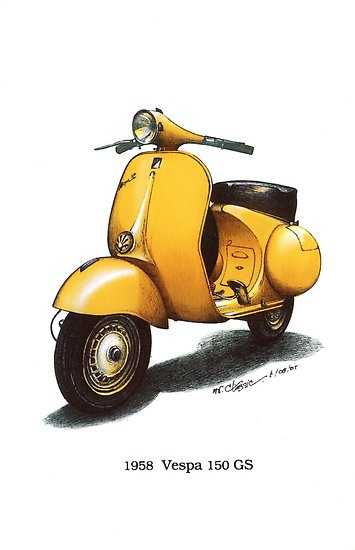 Yellow 1958 Vespa 150 gs motorbike $3