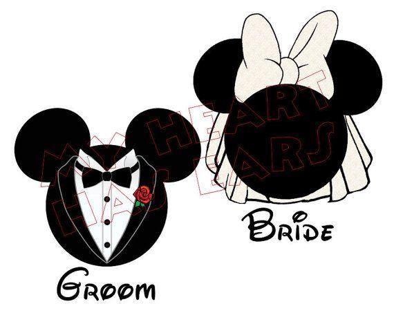 2 Printable DIY Mickey Mouse groom & Minnie Mouse bride Iron on transfer wedding invitations