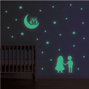 Sticker Fosforescent - Copiii si luna : Fosforescente - ★ Stickere Decorative ★ Stickere.Net ✫ Autocolante decorative de perete ®
