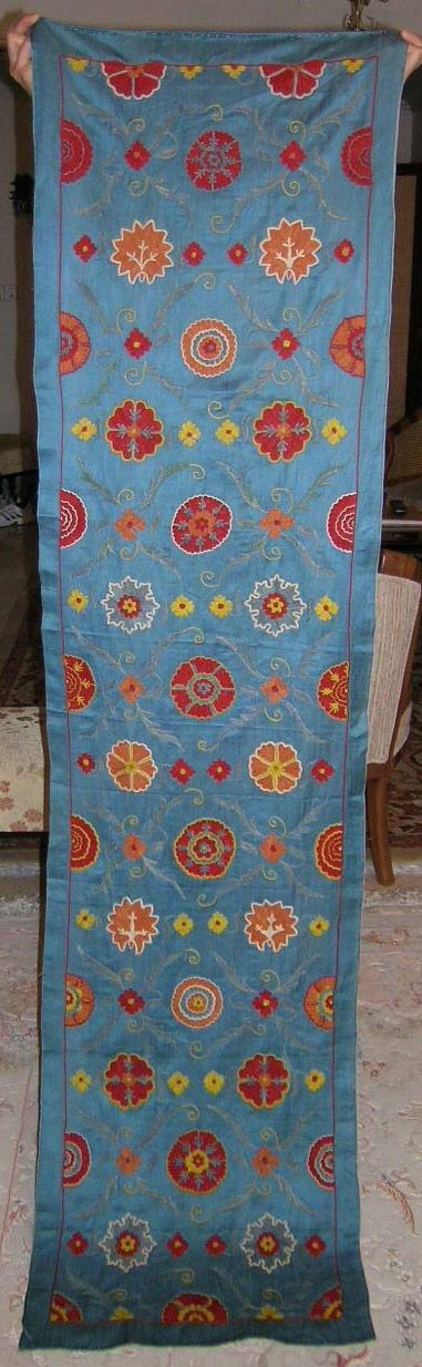 Pure silk embroidery on silk&cotton foundation,natural colors,totally hand made 185cmx46cm