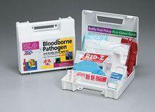 23 piece Bloodborne pathogen bodily fluid spill kit- plastic case- 1 ea.