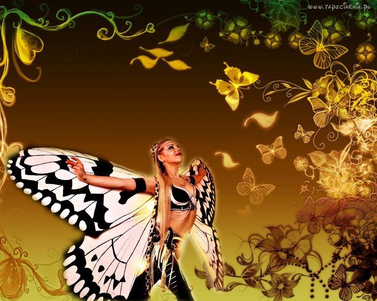 Kobieta, Motyl, Grafika, Komputerowa