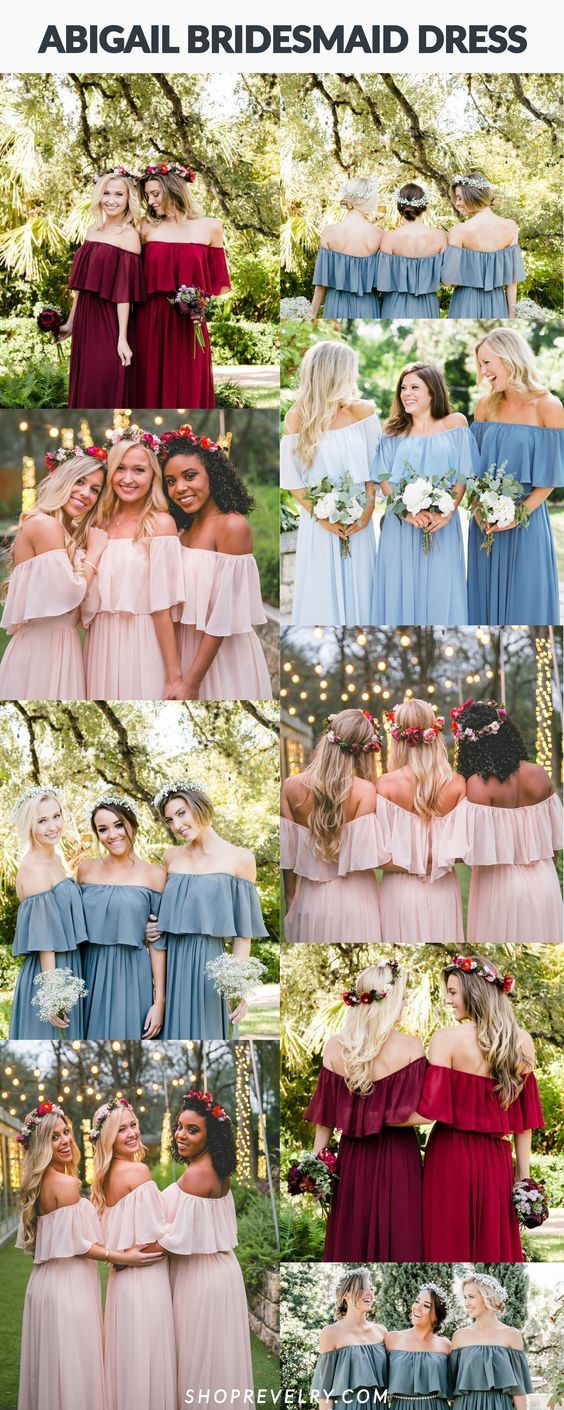 Boho off the shoulder bridesmaid dress, Abigail, from Revelry looks stunning in shades of eucalyptus, pink, blush, dusty blue, and Burgundy for any season or style wedding. Dress your entire bridesmaid squad with matching Abigail, or mix and match various Chiffon bridesmaid dresses from Revelry. Long dresses or order in cocktail length with Revelry's 4 length options. Look no further for a Pinterest worthy bridesmaid dress reserved for the trendiest of weddings.
