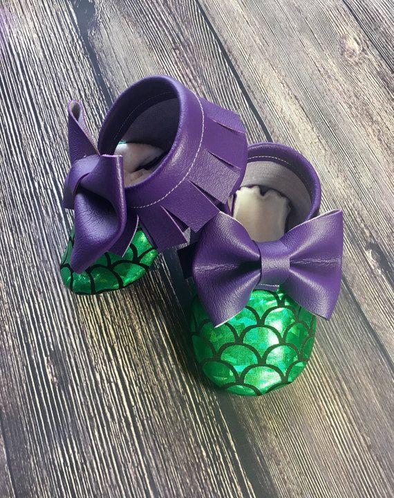 Baby girl mermaid shoes baby girl moccs baby by GabisHeadbands