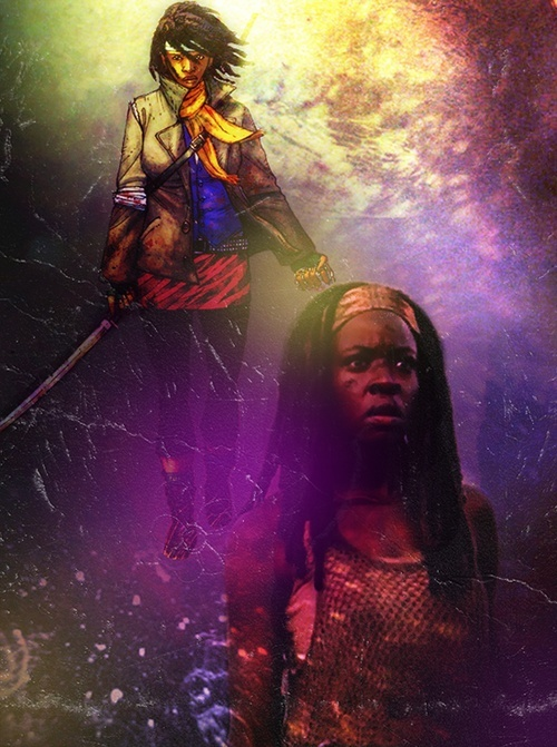 """Michonne, The Walking Dead. Michonne (pronounced """"Mi-shown""""; mɪˈʃɔːn) is a fictional character from the comic book series The Walking Dead and is portrayed by Danai Gurira in the television series of the same name."""