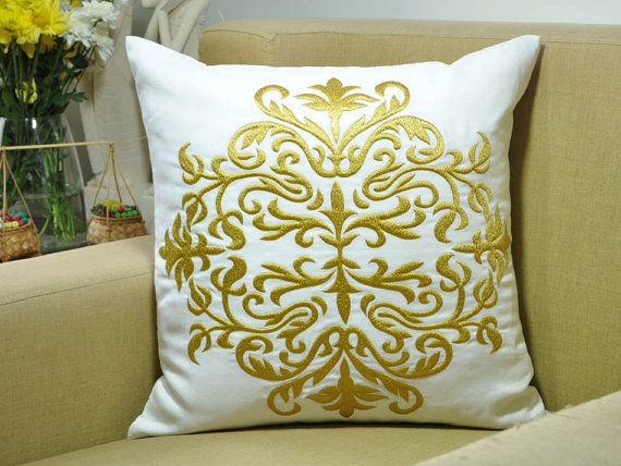 Damask Pillow Cover White Linen Gold Damask Embroidery
