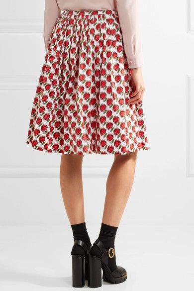 Prada - Printed Stretch-denim Skirt - Red - IT