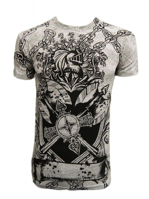 Amazon.com: Konflic Men's Shield Chained Knight Graphic Designer MMA T Shirt: Clothing