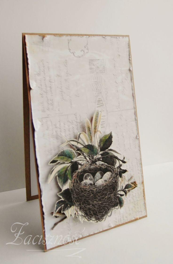 Kartka wielkanocna z ptasim gniazdem/ Handmade Easter card with a nest