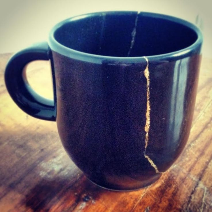 black coffee cup, broken and repaired with gold #kintsugi ...