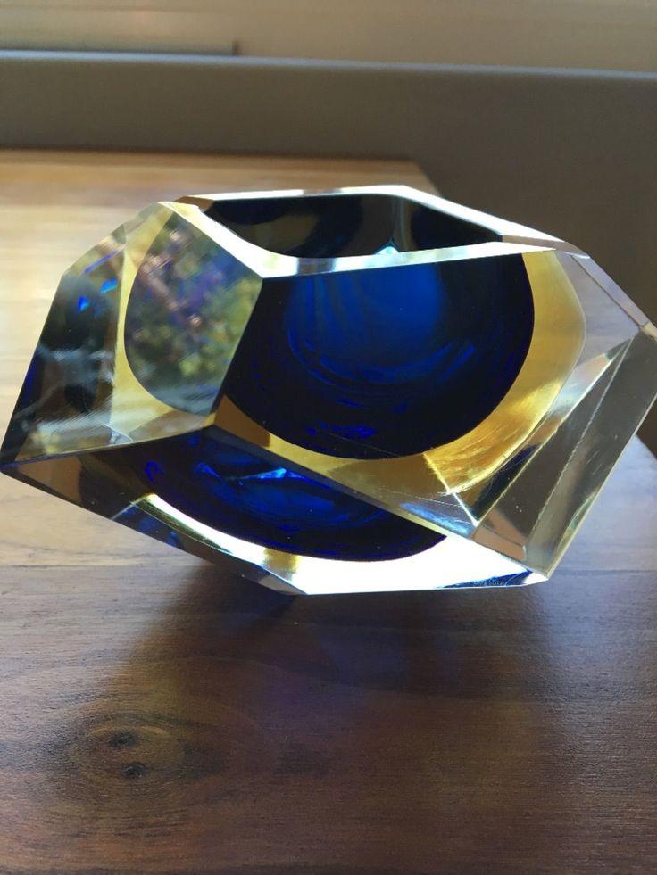 Vintage Mid Century Murano Sommerso Mandurzzato Italy Art Block Faceted Glass Bo | eBay