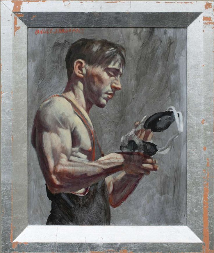 Wrestler with Cap (Contemporary Oil Portrait of a Male Athlete) 1
