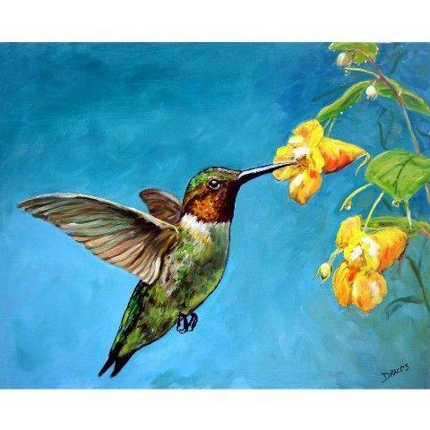 Hummingbird Bird Art Print of Original Painting by Dottie Dracos, Hummer with Yellow Flowers