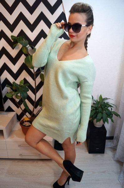 Платье-свитер женственное очаровательное с длинным рукавом мятный