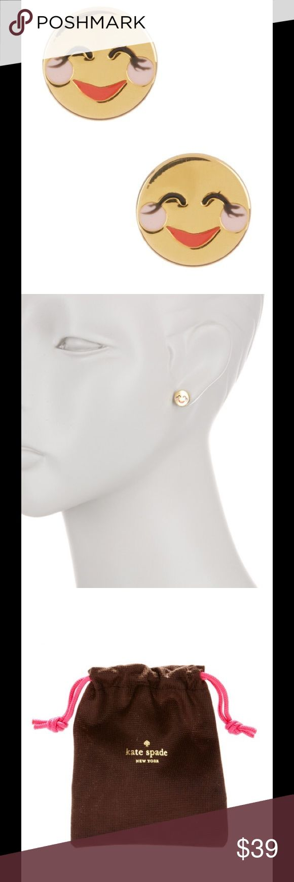 """🆕 Kate Spade Blushing Emoji stud earrings - 12K gold plated enamel detailed clushing emoji stud earrings  - Post back  - Approx. 3/8"""" length  - Imported  Materials 12K gold plated brass, enamel  Brand new with tag.  Smoke free and pet free. kate spade Jewelry Earrings"""
