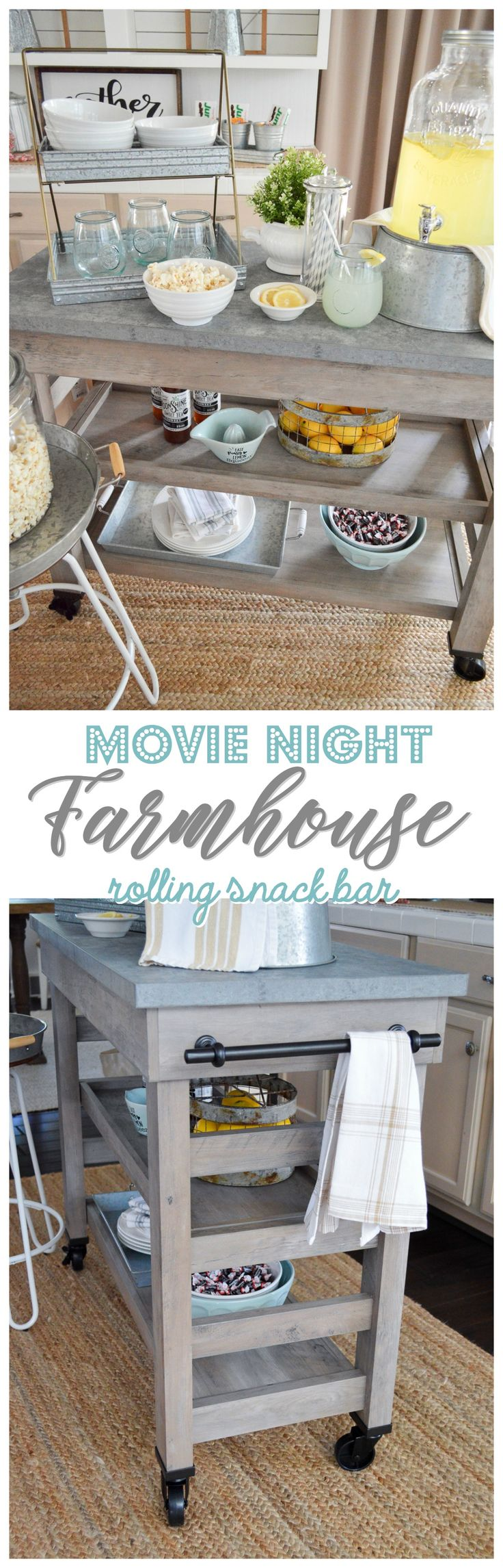 The New Modern Farmhouse Multi-Purpose Cart is just that! It's living in our kitchen as an island, and I just turned it into a family movie night snack bar/serving station! I can see so many uses for this super cute farm style furniture piece. It's got a concrete look top and even has wheels!! Sponsored in partnership with Better Homes & Gardens at Walmart