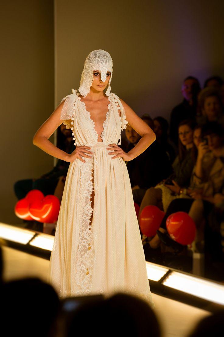 Soft pink #boho wedding dress by Greek designer @nellaioannou at AXDW