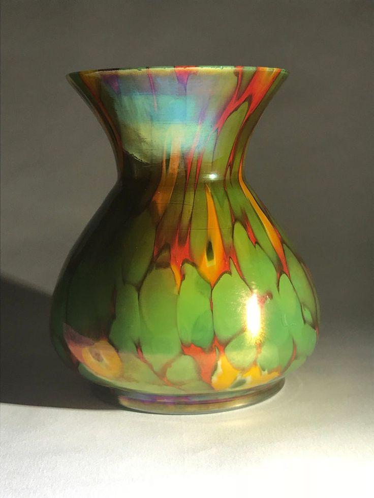 Kralik Cane Millefiori Spatter Glass Vase glas Loetz interest Bohemian #Kralik #ArtDeco