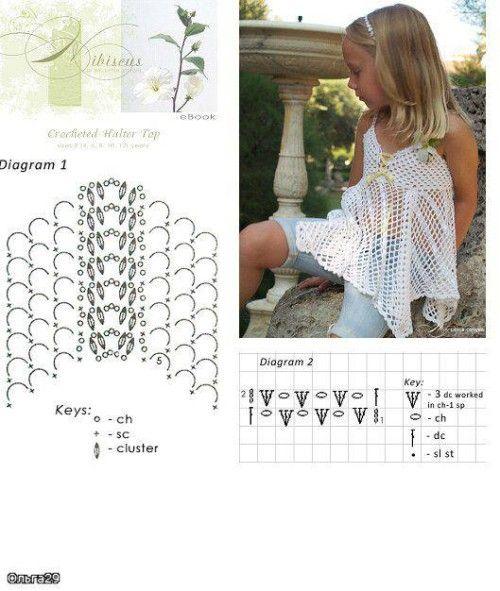 Летние детские платья крючком - схемы и фото