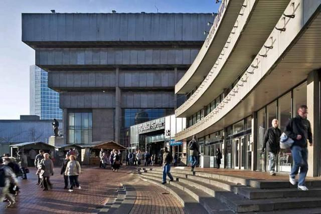 Birmingham Central Library, view of entrance from Chamberlain Square. The library was part of British Brutalism, a group of sites on the 2012 Watch.