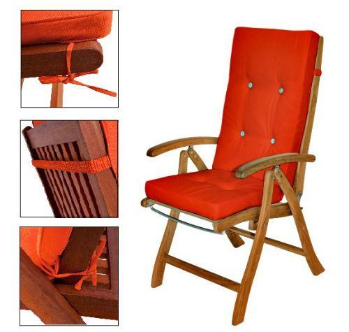 Details About Outdoor Cushion Pads 6ps Set High Back Patio Seat Cushions  Orange Garden Covers