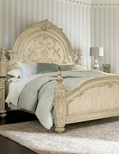 Jessica McClintock Mansion Bed - bed, dresser, mirror, nightstand available; also available in dark baroque brown