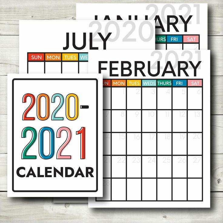 20202021 Printable Calendar in 2020 Student binders