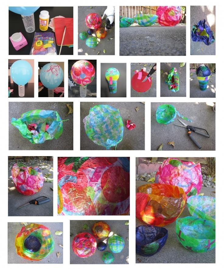 Paper Mache Craft Ideas For Kids Part - 49: Tissue Paper Balloon Bowls