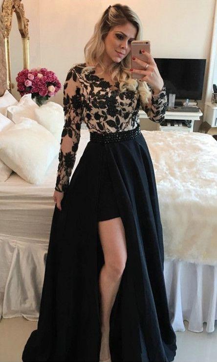 black prom dresses,lace prom dresses,long sleeve prom dresses,split prom dresses,cheap prom dresses
