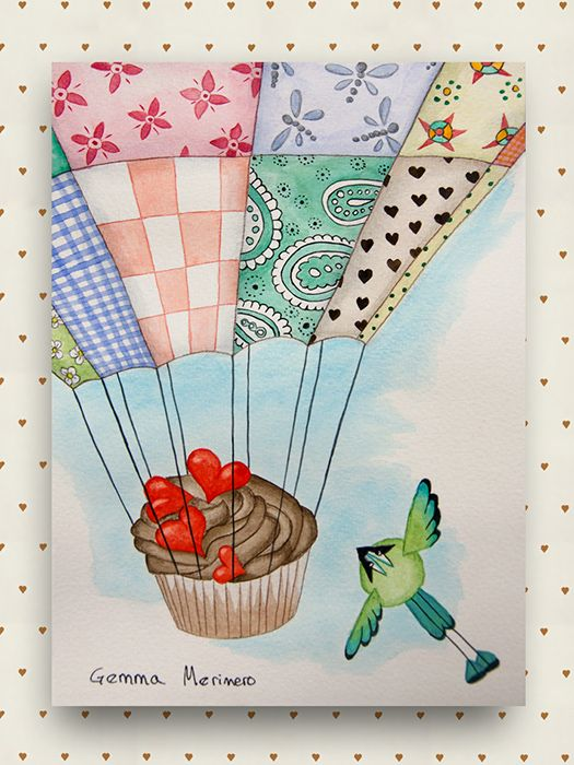 Momotos  cupcake y globo patchwork. (Gemma Merinero)