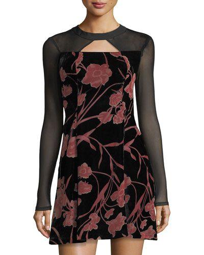 Floral-Print Velvet Fit-&-Flare Dress