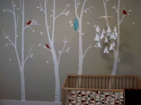 The finished nursery mural: birch tree forest w/ birds & an owl. I painted free-hand and love how it turned out!
