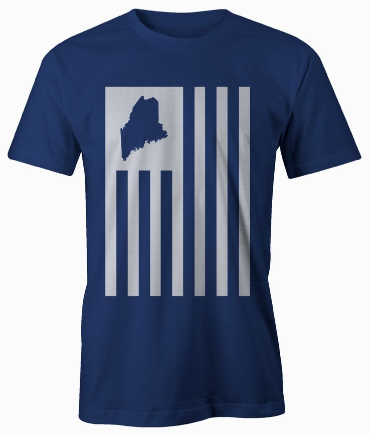 Maine American Flag Shirt - Unisex/Men's American Flag T-shirt printed on American Apparel. by BeardedDogPrintsLLC on Etsy